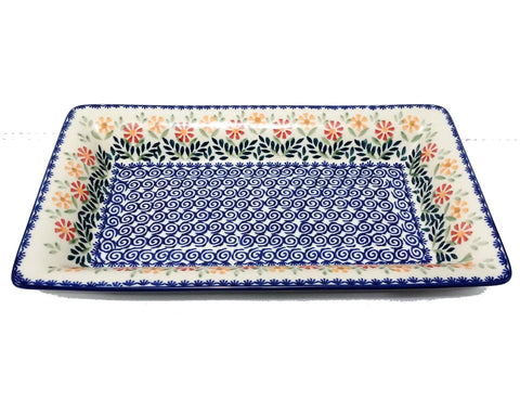 "13.5"" Rectangular Platter in Spring Morning pattern"