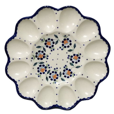 "10"" Deviled egg platter in Blue Daisy pattern"