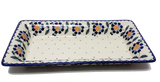 "Rectangular Platter 13.5"" in a Blue Daisy pattern"