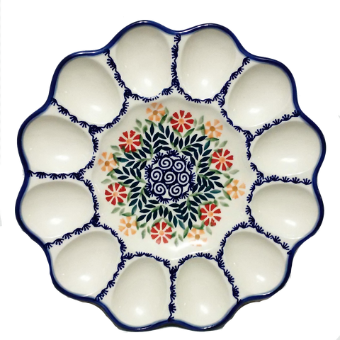"10"" Deviled egg platter in Spring Morning pattern"