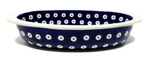 "7.5"" Oval Baking Dish in Polka Dot pattern."