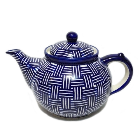 Afternoon Teapot in Unikat Blue Basket Weave pattern