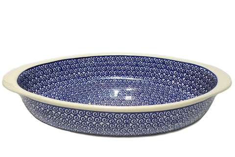 "11.5"" Oval Baking Dish in Blue Swirl pattern."