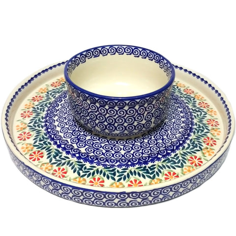 "12.75"" Cake Stand / Veggie and Dip Platter in Spring Morning pattern"