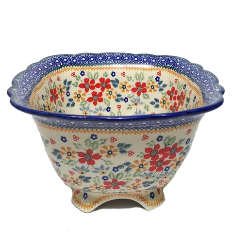 "9.5"" Footed Bowl in Signed Summer Garden pattern"