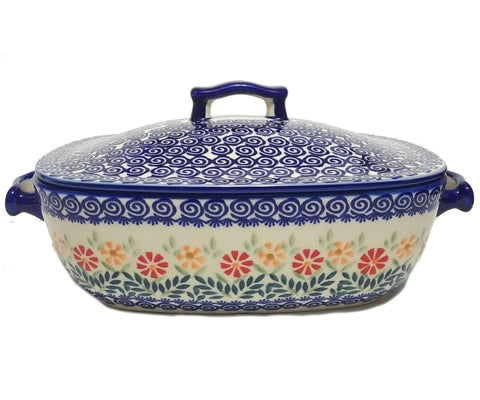 Covered casserole in Spring Morning pattern