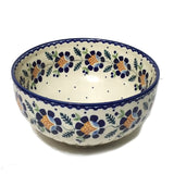 "8.25"" Salad Bowl in Blue Daisy pattern"