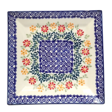 "9"" Square Platter in Spring Morning pattern"