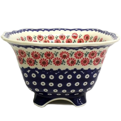 "9.5"" Footed Bowl in Painted Daisies pattern"