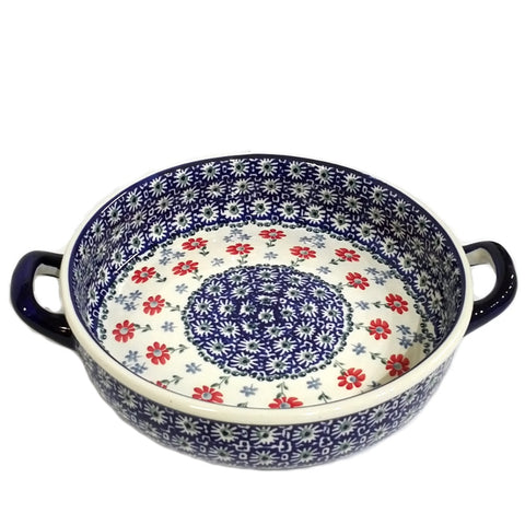 "9"" Round Baker w/handles in Red Daisy pattern."