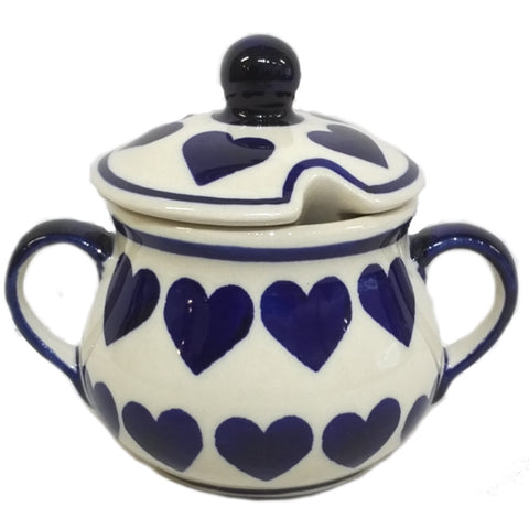 Sugar Bowl in Wrapped in Hearts pattern