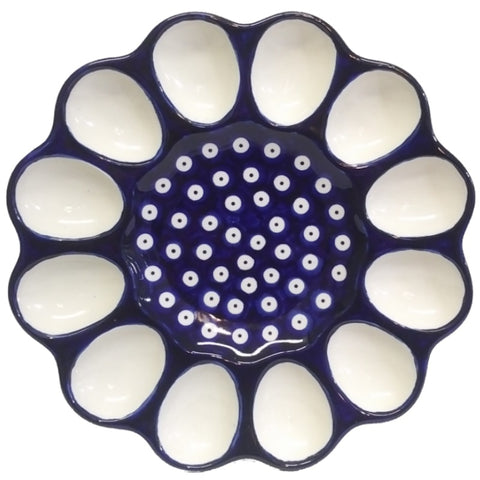 "10"" Deviled egg platter in Polka Dot pattern"