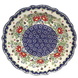 "11"" FLUTED PLATTER in a Signed Wild Flower pattern"