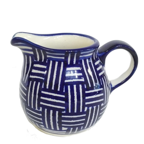 200ml Creamer in Blue Basket Weave pattern