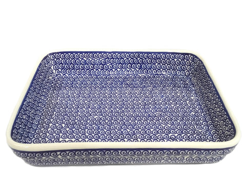 "11"" Baking dish in Blue Swirl pattern."