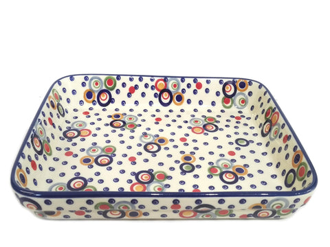 "11"" Baking dish in Happy Bubbles pattern."