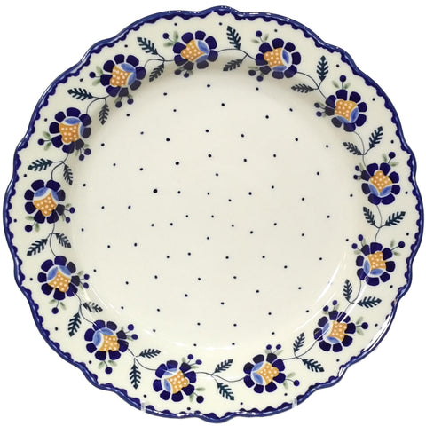 "13"" Fluted Platter in Blue Daisy pattern"