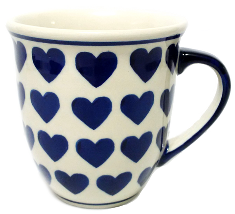450ml Large Bistro mug in Wrapped in Hearts pattern