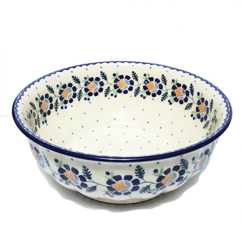 "11.5"" Salad Bowl in Blue Daisy pattern"