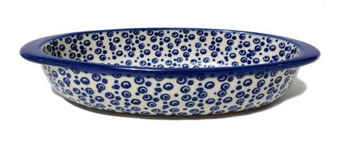 "7.5"" Oval Baking Dish in Bubbles pattern."