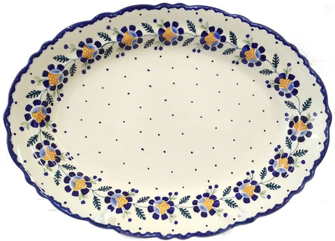 "17"" Fluted Oval Platter in Blue Daisy pattern"