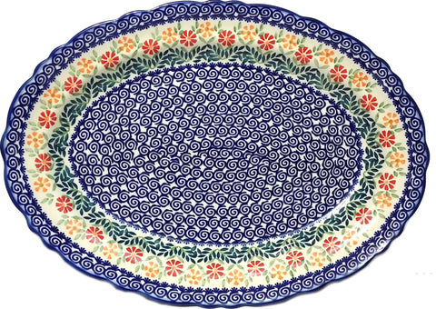 "17"" Fluted Oval Platter in Spring Morning pattern"