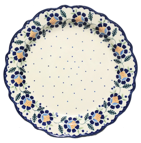 "11"" FLUTED PLATTER  in Blue Daisy pattern"