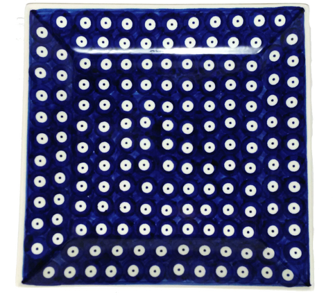 "9"" Square Platter in Polka Dot pattern"