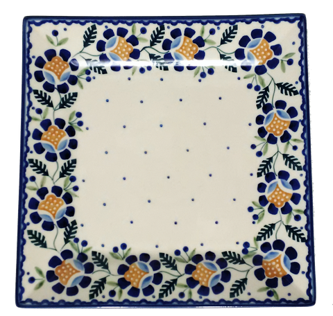 23 cm Square Platter in Blue Daisy pattern