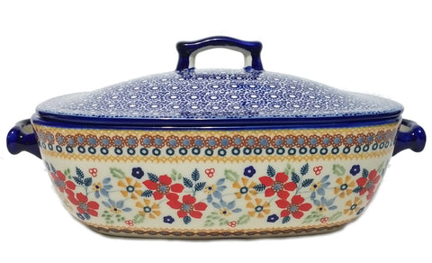 Covered casserole in Summer Garden pattern.