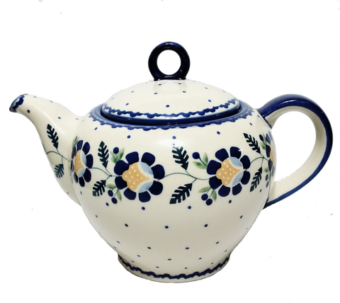 Teapot w/strainer 1.5L in Blue Daisy pattern
