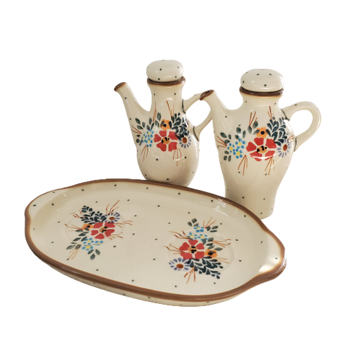 Oil and Vinegar set in Traditional pattern