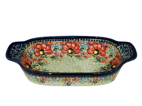 "10"" Baking Dish in Signed pattern."