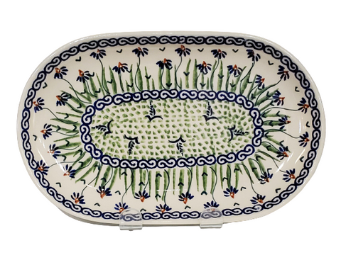 "9.25"" Oval Platter in Dancing Garden pattern"