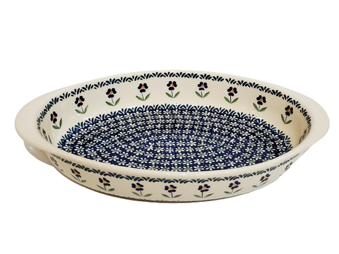 "30 cm / 11.75"" Oval Baking Dish in Blue Flower pattern"
