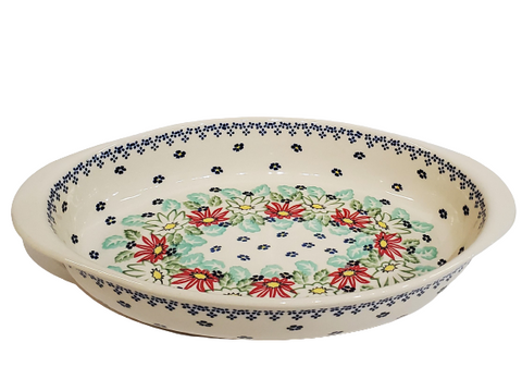 "30 cm / 11.75"" Oval Baking Dish in Lily Pond pattern"