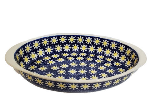 "30 cm / 11.75"" Oval Baking Dish in Yellow Daisies pattern"