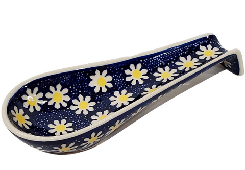 Long Spoon Rest in Yellow Daisies pattern