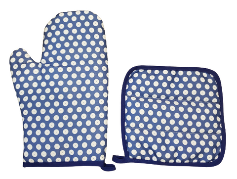 Oven mitt and pot holder in Polka Dot pattern