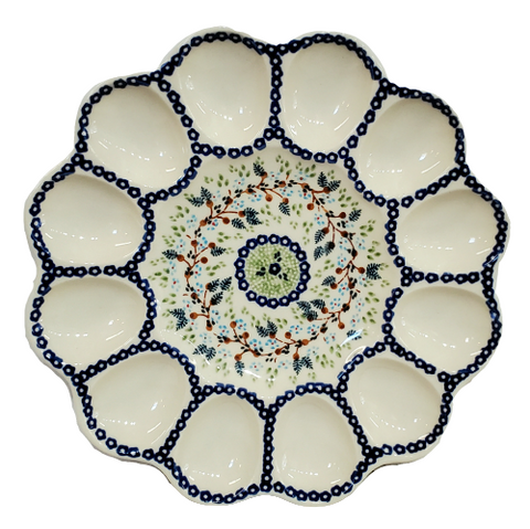 "10"" Deviled Egg platter in Pine Cones pattern"