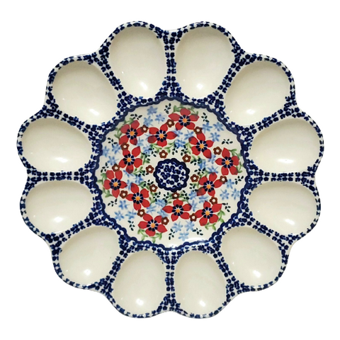 "10"" Deviled Egg platter in Country Garden pattern"