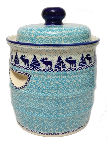 7L Sauerkraut Crock Pot in a Reindeer pattern