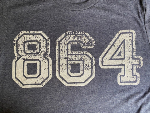 864 Area Code tee - long sleeve- heather navy