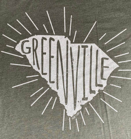 Greenville in SC tee with rays- heather military green