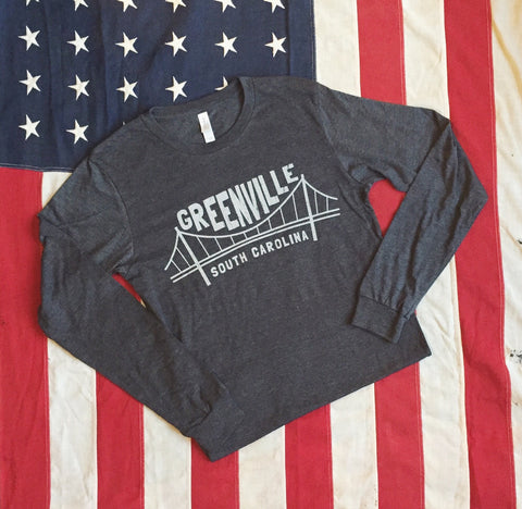 Liberty Bridge tee - Long sleeve- dark charcoal heather