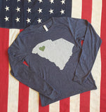 Greenville - SC State With Greenville Heart Tee - long sleeve (blue or gray)