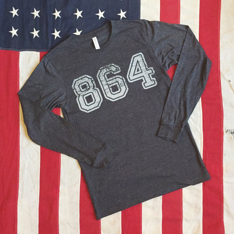 864 Area Code tee - long sleeve- dark charcoal heather