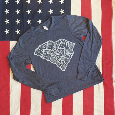 Regions of SC tee - long sleeve- heather navy