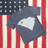 Greenville - SC State With Greenville Heart Tee- in gray heather or navy heather