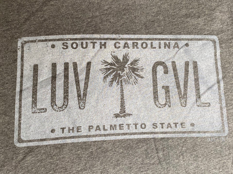 LUV GVL license plate tee - WHITE IMPRINT